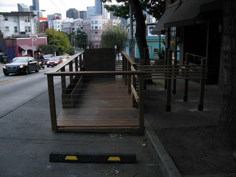 A parklet under construction on Olive Way in Seattle's Capitol Hill neighborhood.