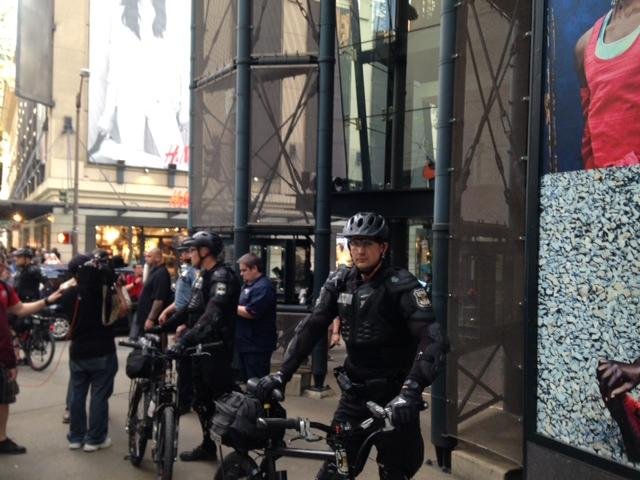 The Seattle Police watch over May Day demonstrators in downtown Seattle.