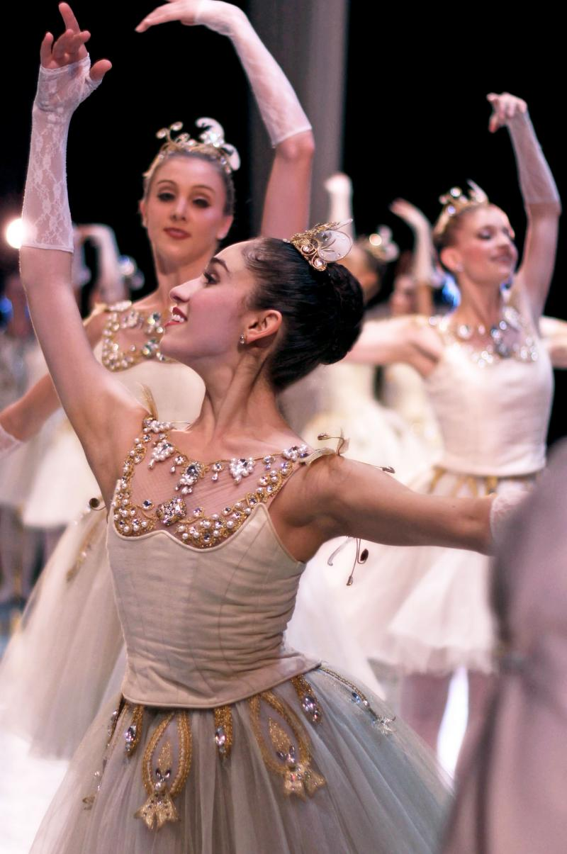 "Pacific Northwest corps de ballet dancer Leta Biasucci in George Balanchine's ""Diamonds."""