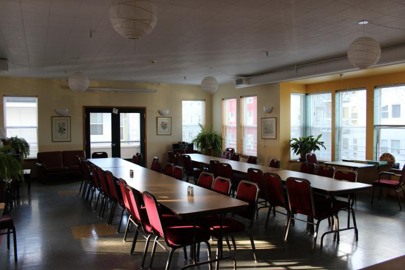 Where meals are served at Jackson Place Cohousing. The 60 or so members eat together four to five days a week. Dinner is served at 6 p.m.
