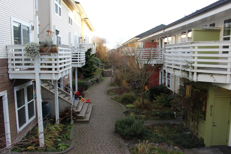 Town houses at Jackson Place Cohousing. Cohousing comes out of a Scandinavian housing movement to bring people together but also afford them private space.