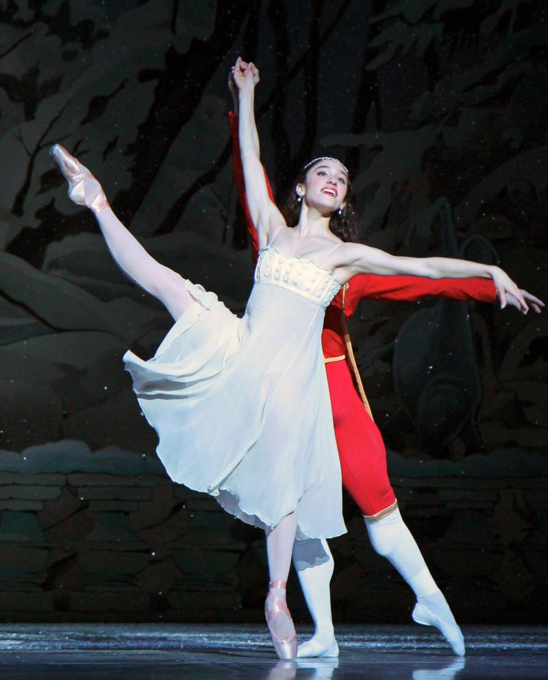"Leta Biasucci as Clara in Pacific Northwest Ballet's ""Nutcracker."""