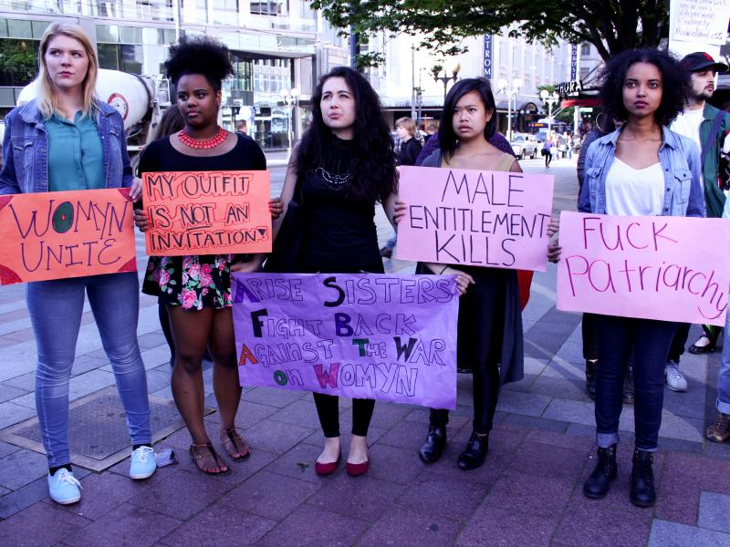From left to right, Emily Kohring, 21, Na'quel Walker, 21, Julissa Sanchez, 26, Alia Kusumangrat, 18, and Diana Salah, 21, attended the #yesallwomen rally.