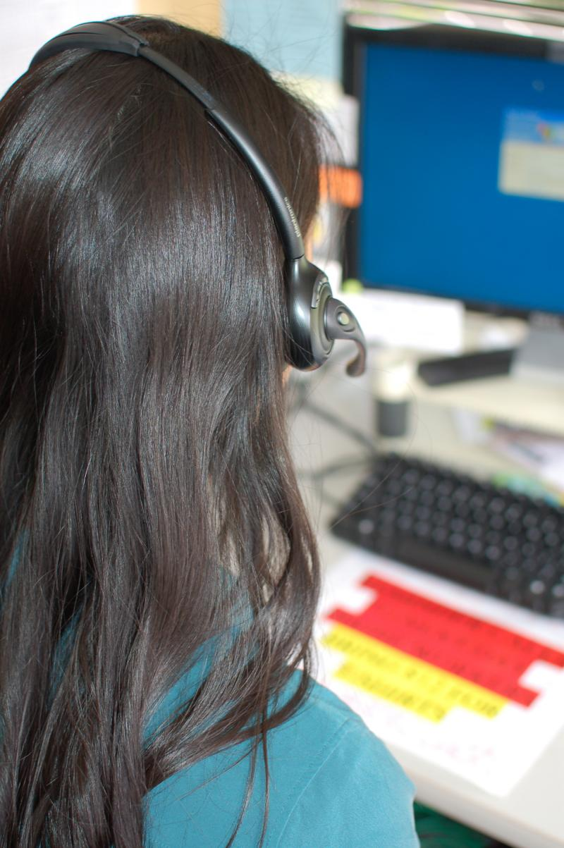 A volunteer takes calls at Seattle's Teen Link, an anonymous crisis hotline staffed entirely by teens.