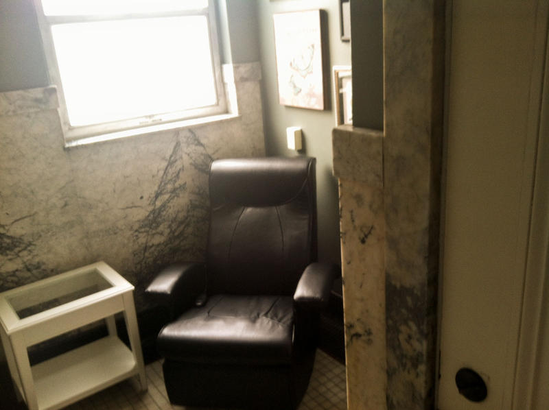 The pumping room at the Dexter Horton building downtown boasts a massage chair.