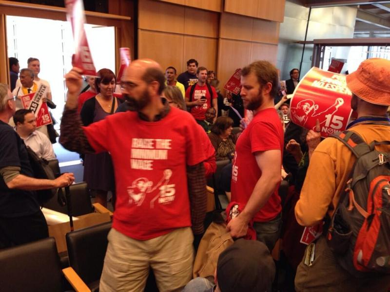 There was a standing-room-only crowd at Seattle City Council for the $15 minimum wage vote.