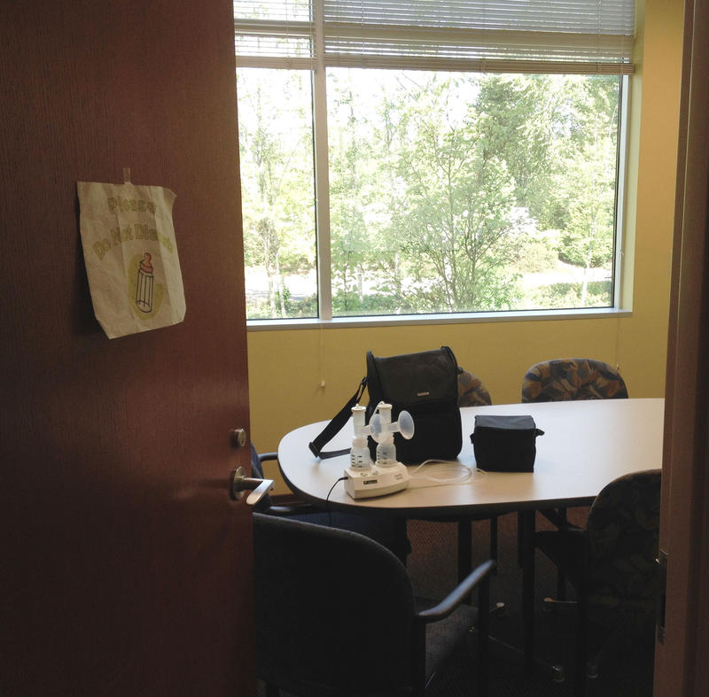"At Federal Way City Hall,  Jeanette Brizendine-Jurgensen writes, ""The other nursing mom and I feel super fortunate to have a roomy space with a table, locking door and nice view."""