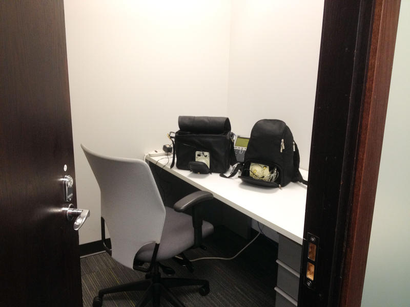 "The ""pump dungeon"" at a digital marketing firm in Kirkland. It features a locking door, chair, mirror and ""a lovely frosted window that we're pretty sure our coworkers can't see through."" Three women share the room."