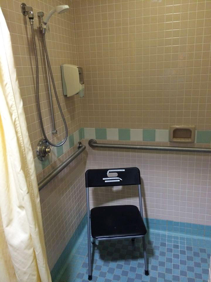 Among photos of pumping spaces we received from listeners was this one of Swedish Medical Center in downtown Seattle. Up to eight women use this shower stall. There are lactation rooms at Swedish, but two moms told us they were too far for them to use.
