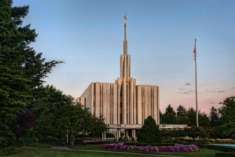 Seattle's Mormon Temple, used for rituals and weddings. Mormons attend church in wards on Sundays.