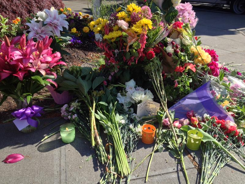 Flowers at a memorial for the 2014 Seattle Pacific University shooting.