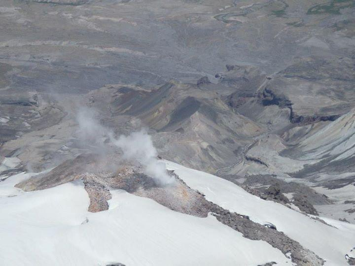 Steam vents in the crater of Mount St. Helens.