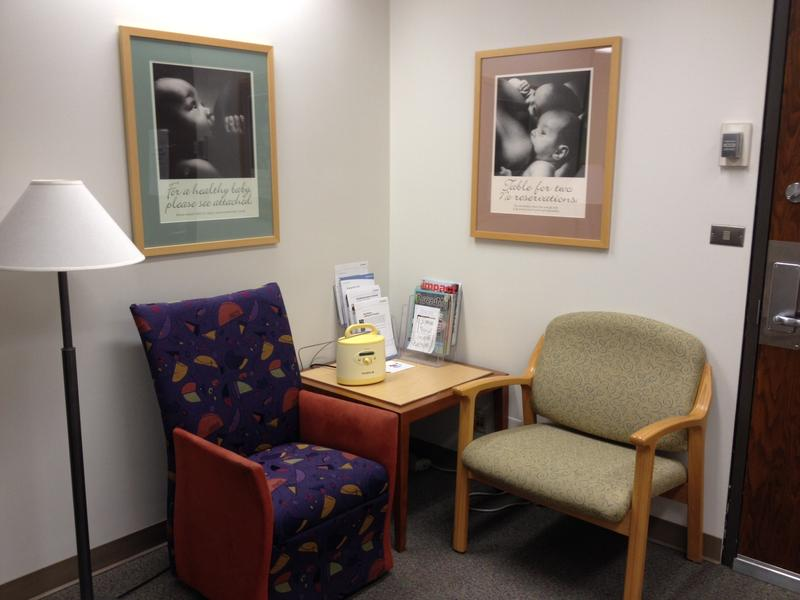One of the three official lactation rooms at Swedish Hospital (First Hill), complete with a hospital-grade Medela pump (pumping moms know what a luxury this is). The rooms are open to patients and employees during the day, starting at 9 a.m.