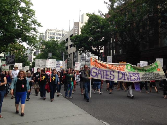 Teachers march on Gates Foundation headquarters to protest increased standardized testing and other education reforms