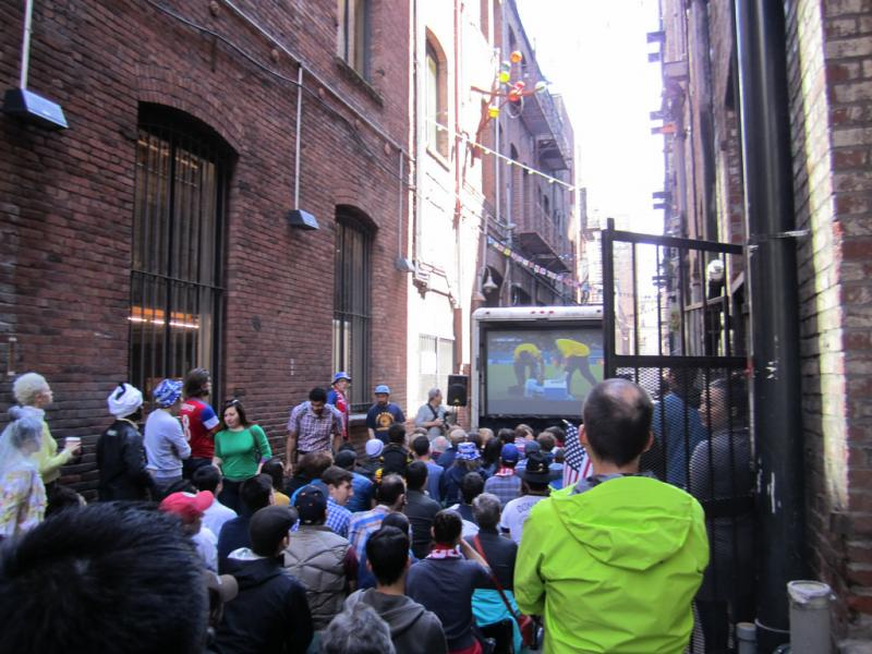 Seattle soccer fans watch a World Cup match in Nord Alley.