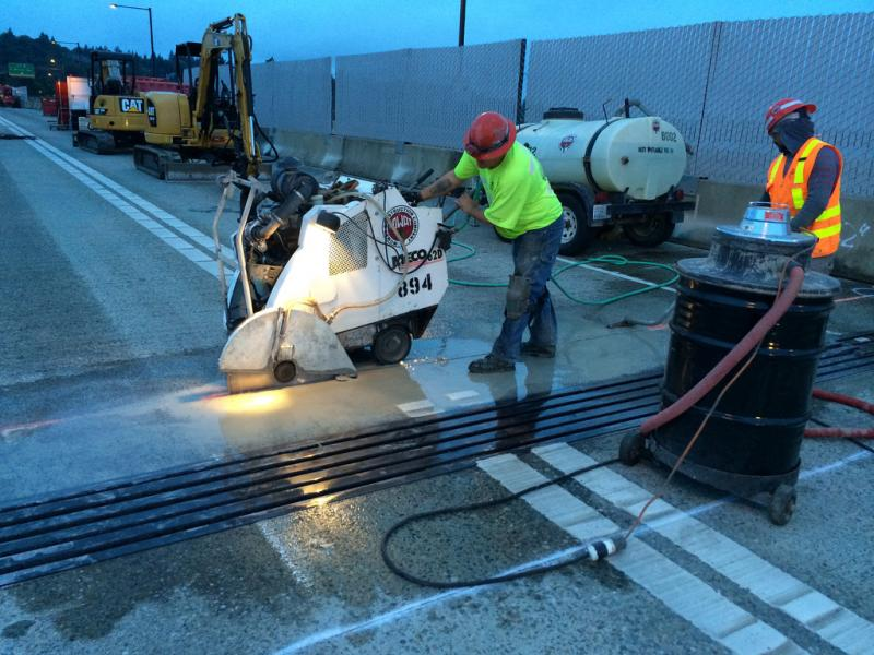 Crews worked around the clock to replace expansion joints on I-90. The highway narrowed to one lane in Bellevue for a week, causing traffic headaches.