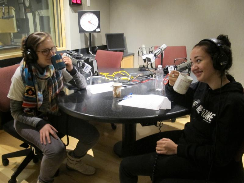 Meghan and Noah have a laugh over tea while recording this podcast.