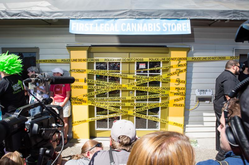 Cannabis City, Seattle's first recreational marijuana store, used police tape for their tongue-in-cheek ribbon-cutting.