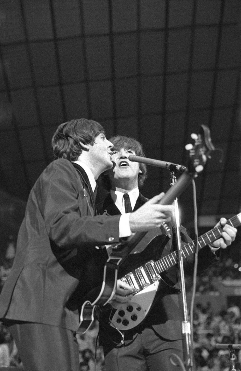 Paul McCartney and John Lennon at Seattle Center Coliseum, Aug. 21, 1964