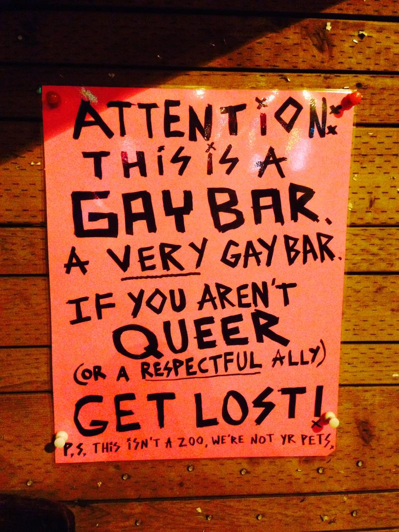 The sign in front of Pony lets new patrons on Capitol Hill know what to expect.