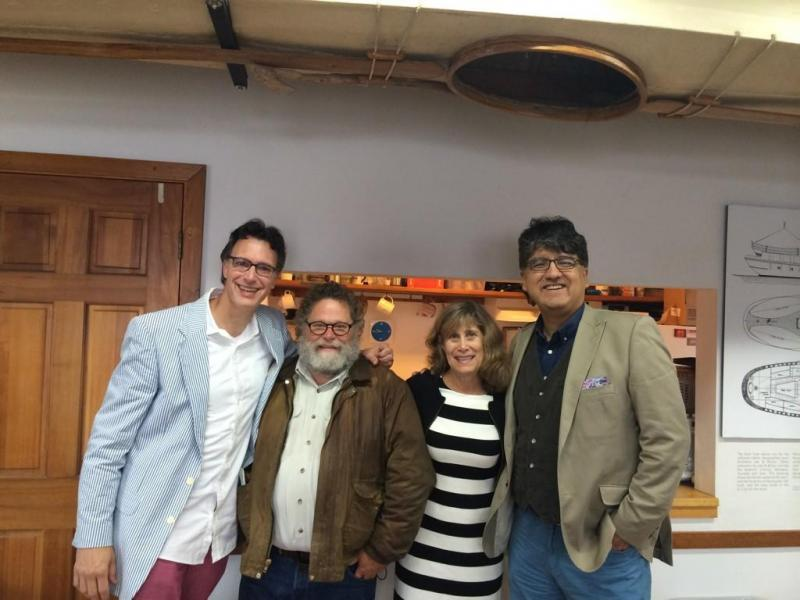 "The ""Week In Review"" panel at the Center for Wooden Boats: Bill Radke, Knute Berger, Joni Balter and Sherman Alexie."