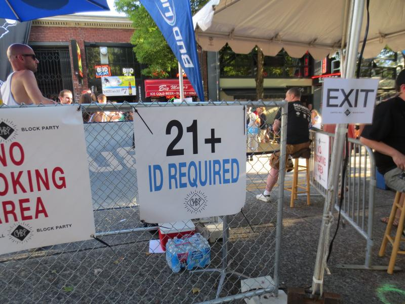 Barriers keep people under 21 out of many areas at the Capitol Hill Block Party.
