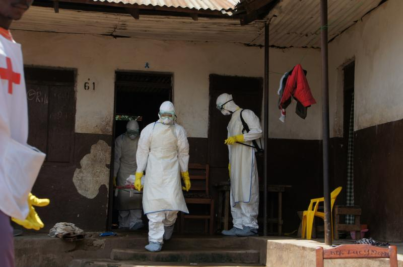 Health workers combatting Ebola in Sierre Leone.