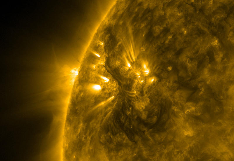 A close-up of a filament on the sun's surface.