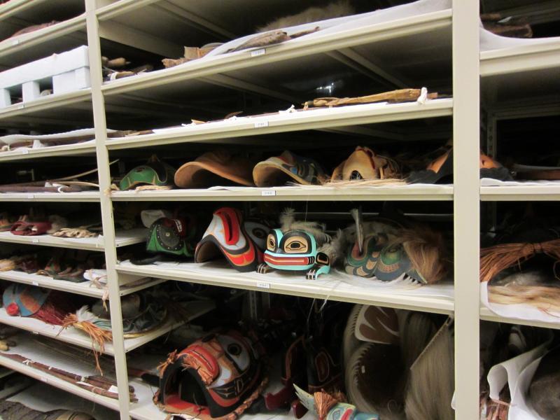 Hundreds of Northwest Native masks, in Burke Museum storage