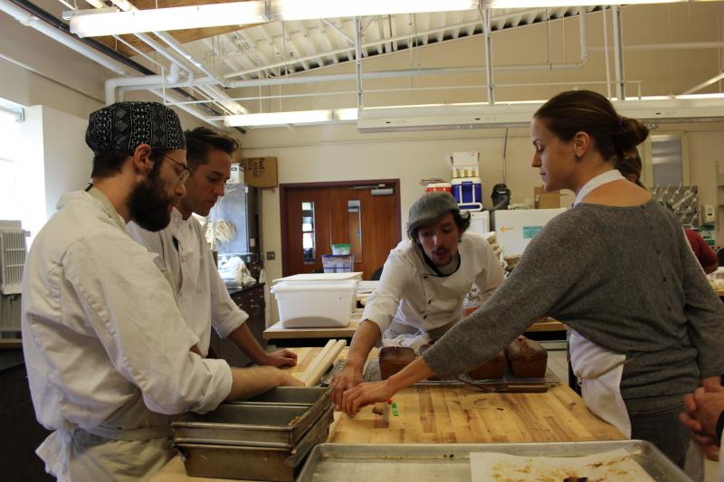 Visiting chefs and bakers join Jonathan Bethony McDowell, Bread Lab's resident baker, to taste cookies made with four different varieties of whole wheat.