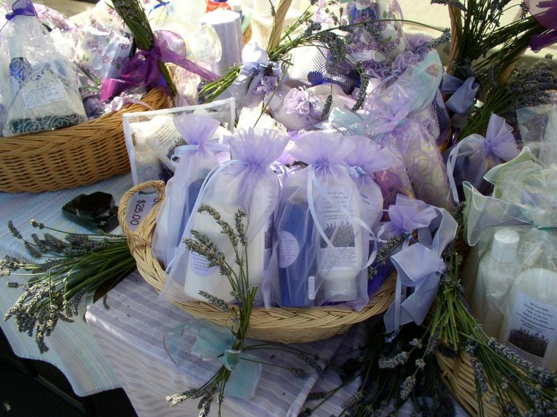 Sheryl Wiser surveys lavender offerings at the wonderful smelling Sequim market.