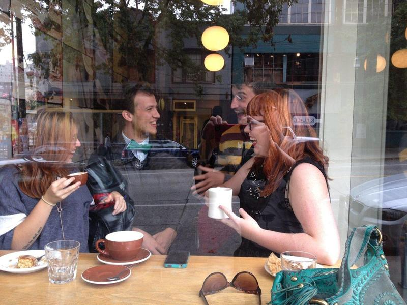 Left to right: Hannah Apple Fig, Trent Johnson, Matt Streib and Jessica Bernard at Stumptown Coffee Roasters on Pine Street. Matt found the defectors: all three are or were baristas at Starbucks, and while Matt is on coffee number four, Jessica imbibes at