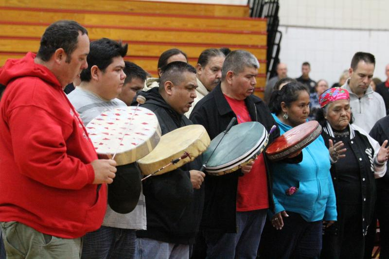 The Tulalip leaders performed a traditional honor song for those who are struggling right now.