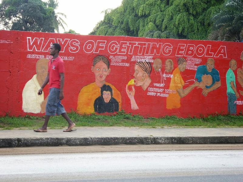 A mural in Liberia warns of Ebola.