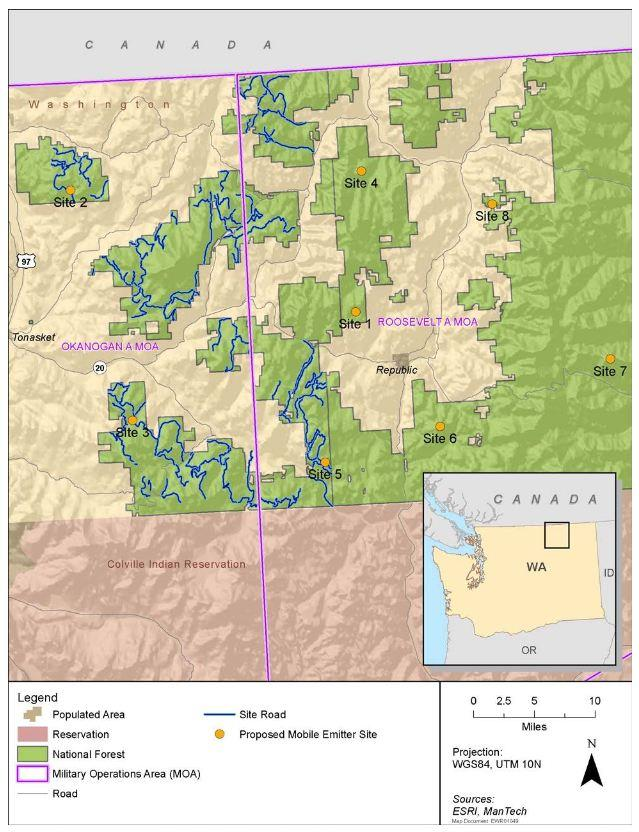 Detail of training sites in North Central Washington.