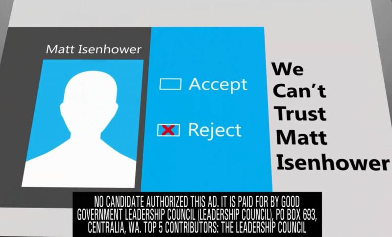 "Screengrab of an ad attacking Democratic state Senate candidate Matt Isenhower, paid for by the ""Good Government Leadership Council"" political action committee."