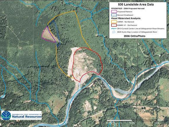 Washington Department of Natural Resources 2006 image shows 2004 clear cut (near dotted purple line) extending into groundwater-recharge zone (marked with yellow line) at site of Oso landslide.