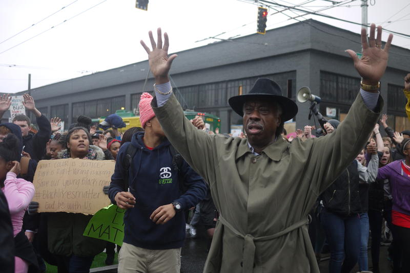 Marchers demonstrate on Tuesday, Nov. 25,  in response to the lack of indictment of Darren Wilson, a St. Louis police officer who shot Michael Brown in August.