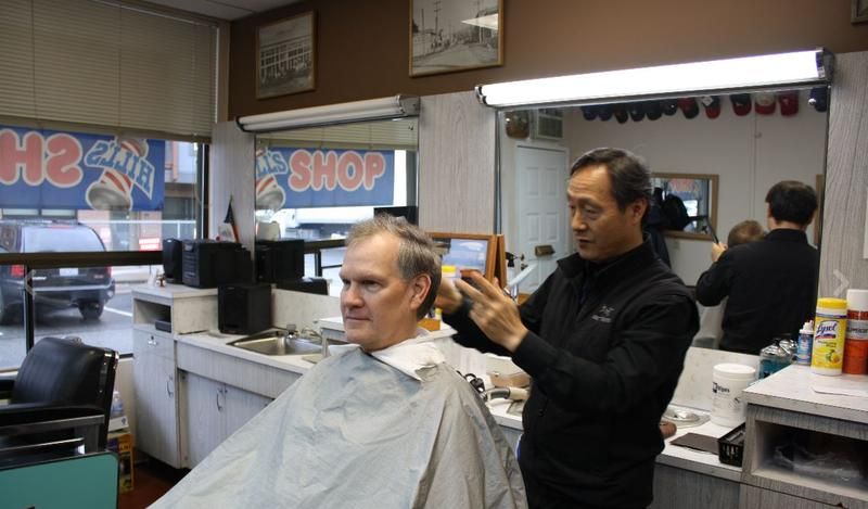 Redmond barber Young Choi discusses the changing face of Redmond with client Kurt Link.