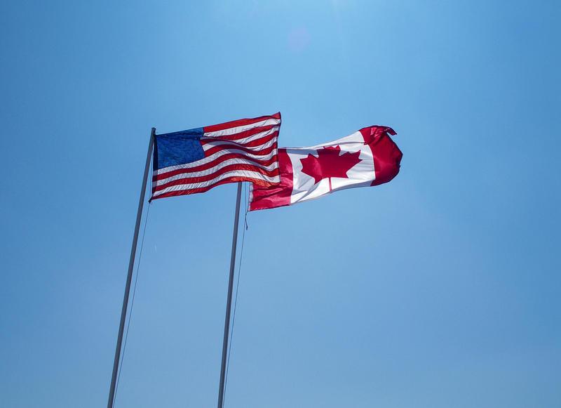 Canada flag American flag
