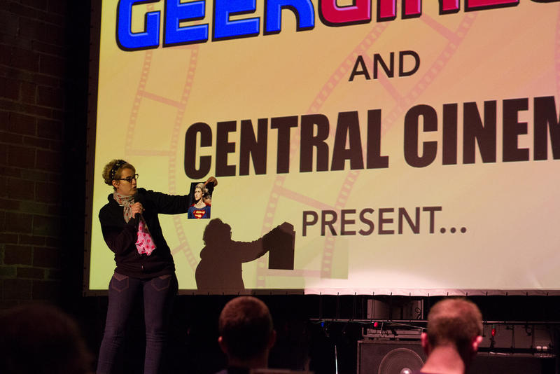 "GeekGirlCon programming director Jennifer K. Stuller kicks-off a viewing of ""Supergirl"" at a 2013 event at Central Cinema."