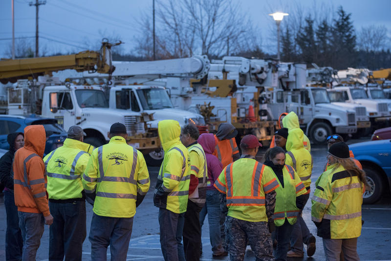 More than 30 crews (4 people per crew using 2 to 3 vehicles) arrived from around the Northwest Thursday to help with restoration efforts. Some teams have traveled from Eastern Washington and British Columbia.