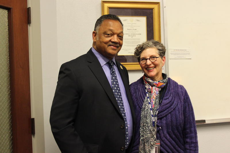 The Reverend Jesse Jackson speaks with KUOW's Marcie Sillman about tech industry diversity on the University of Washington campus on Tuesday, Dec. 2, 2014.