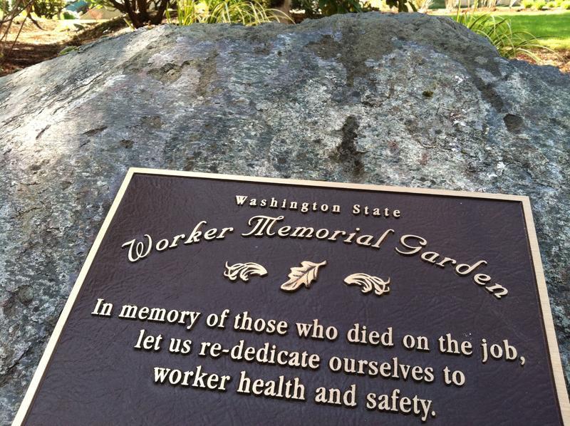 Washington state Worker Memorial Garden in Tumwater.