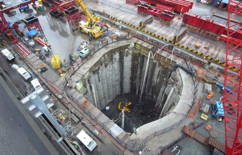 The hole built to rescue Bertha, the deep boring machine.
