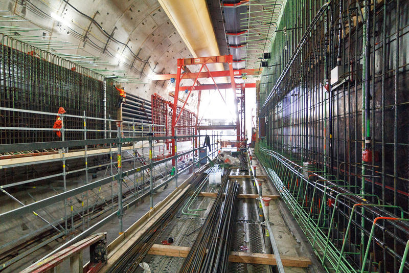In this November 2014 photo, construction crews are building walls for the future northbound roadway inside the SR 99 tunnel.