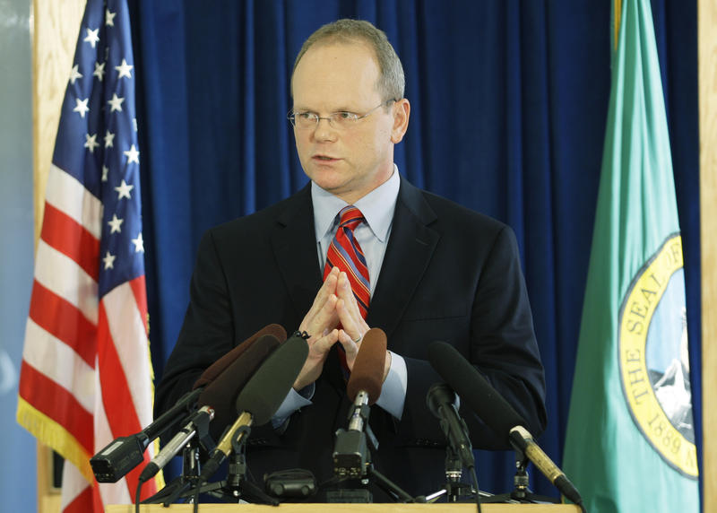 In this file photo, King County Prosecutor Dan Satterberg talks to reporters at a press conference in 2009.