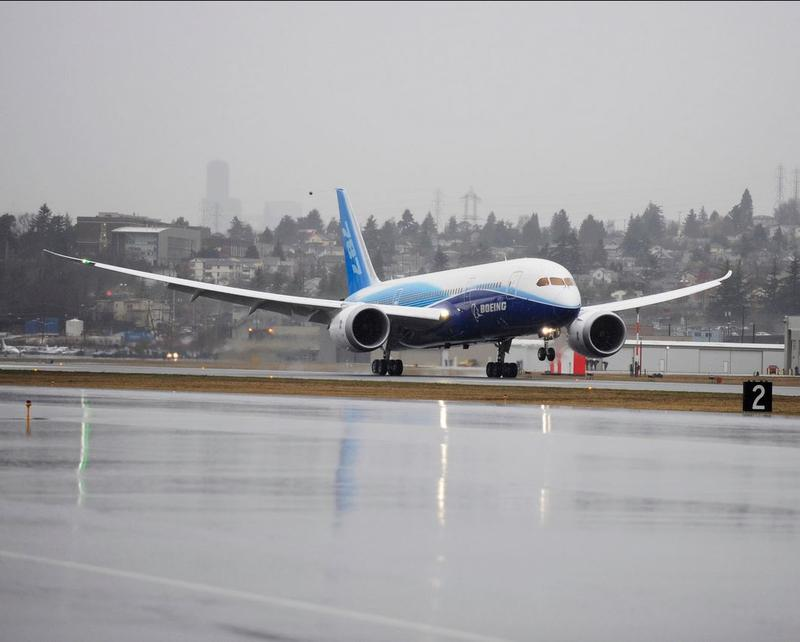 The Boeing 787 lands at Seattle's Boeing Field after its maiden flight from Paine Field in Everett.