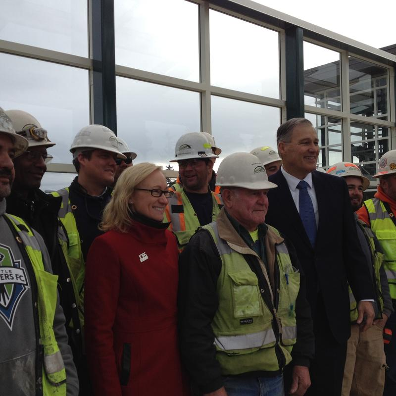 Governor Jay Inslee unveiled a new transportation plan at a Eastside Transit Project site atop SR520 on Tuesday, Dec. 16, 2014