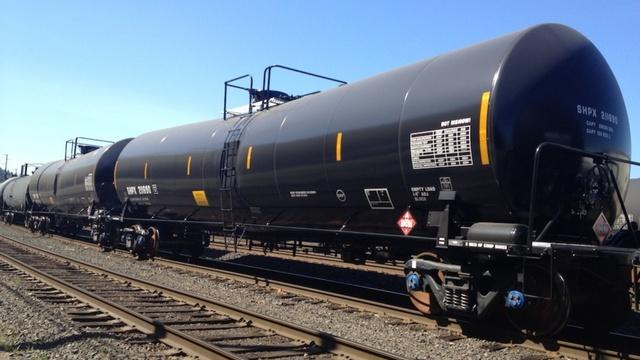 File photo of oil train tankers in a Portland, Ore. railyard.